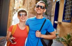 Touristes dans la vieille ville Photos libres de droits