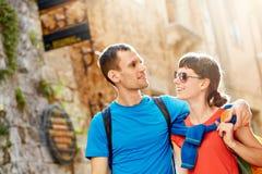 Touristes dans la vieille ville Photos stock