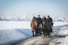 Touristes dans le chariot, Hohenschwangau, Allemagne Photographie stock