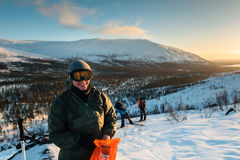 Touristes dans le Russe Laponie, Kola Peninsula Photographie stock