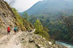 Touristes et portiers sur la route de montagne le 28 mars 2018 au Népal Image stock