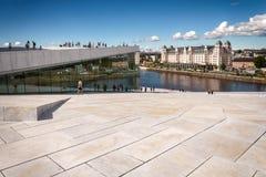 Touristes explorant le théatre de l'opéra d'Oslo, Norvège Images libres de droits