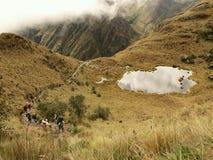Touristes montant le journal d'Inca image libre de droits