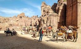 Touristes montant un cheval photos libres de droits