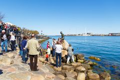 Touristes observant la petite statue de bronze de sirène dépeindre une sirène photographie stock libre de droits