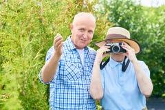 Touristes supérieurs des vacances de famille Photo libre de droits