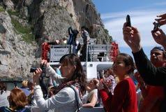 Touristes sur Capri, Italie Images libres de droits