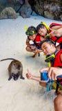 Touristes sur la plage de singe Images stock