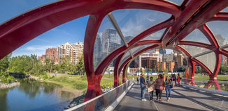 Touristes sur le pont de paix Images stock