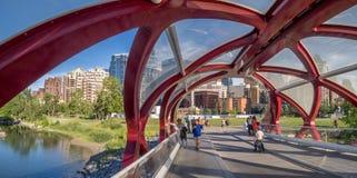 Touristes sur le pont de paix Images libres de droits