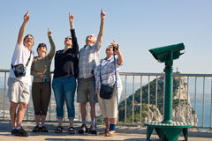 Touristes sur le rocher de Gibraltar Image libre de droits