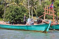 Touristes sur un bateau Photo stock