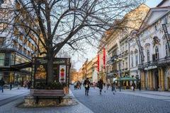 Touristes sur une rue à un centre de Prague image libre de droits