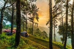 Touristes voyageant au parc national et restant du jour au lendemain dans le Ca Photos stock