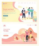 Touristes voyageant pour chauffer le vecteur de Web de pays illustration stock