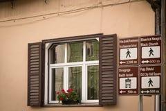 Touristic информативная панель Brasov, Трансильвания, Румыния, Европа Стоковые Фото
