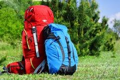 2 touristic рюкзака на луге Стоковые Фото