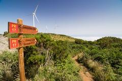 Touristic след в плато Поле da Serra Madeirdan Стоковые Фото