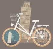 Touristic affisch med det lutande tornet av Pisa Arkivbild
