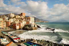 Touristic area known as boccadasse in genoa italy Royalty Free Stock Photography