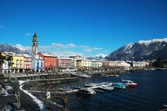 Touristic Ascona i Ticino, Schweiz Arkivfoto