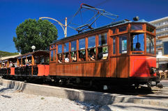 Tram in Port de Soller. The touristic attraction with the historical tram in Port de Soller in Mallorca - Spain Royalty Free Stock Images