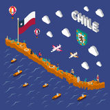 Touristic Attractions Symbols Isometric Chile Map. Chilean tourists attractions symbols isometric map with national flag food  and places of interest poster Royalty Free Stock Image