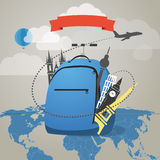 Touristic backpack with presents Stock Photo