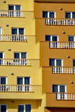 Touristic balcony. Balconies painted in yellow and orange in a touristic building Stock Photography