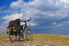 Touristic bicycle in a steppe