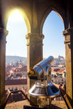 Touristic binocular in Prague, European travel Royalty Free Stock Photos