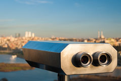 Touristic binoculars. For scenic view in Istanbul Royalty Free Stock Image