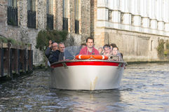 Touristic boat in Bruges, Belgium Royalty Free Stock Photo