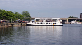 Touristic boat on the pier in Helsinki Royalty Free Stock Photography