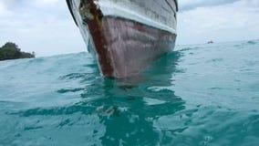 Touristic boat on sea water in Zanzibar. In Africa stock video