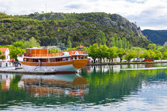 Touristic boat in Skradin, Croatia Stock Photos