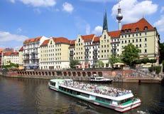 Touristic boat on Spree River, Berlin Stock Photo