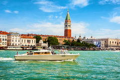 Touristic boats at the grand Canal in Venice Royalty Free Stock Image