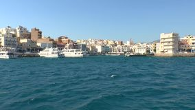 Touristic boats in harbor Agios Nikolaos Crete stock footage