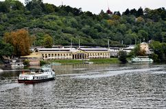 Touristic boats near the city of Prague Royalty Free Stock Images