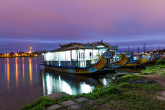 Touristic boats near imperial citadel,. Hue, Vietnam stock photo