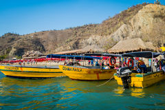 Touristic boats in Playa Blanca, Santa Marta Royalty Free Stock Image