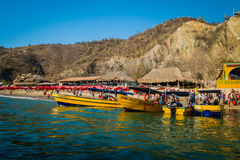 Touristic boats in Playa Blanca, Santa Marta Royalty Free Stock Photography