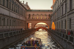 Touristic boats in Saint Petersburg, Russia Royalty Free Stock Photography
