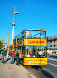 Touristic bus at Berliner Dom in Berlin Royalty Free Stock Image