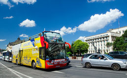 Touristic bus in Bucharest Stock Photos