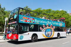 Touristic bus in front of Sagrada Familia. Royalty Free Stock Photos