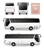 Touristic Bus Realistic Advertising Template Stock Images