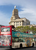 Touristic bus on street in Barcelona. Stock Photo