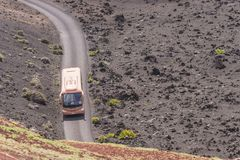 Touristic bus in the Timanfaya Stock Images